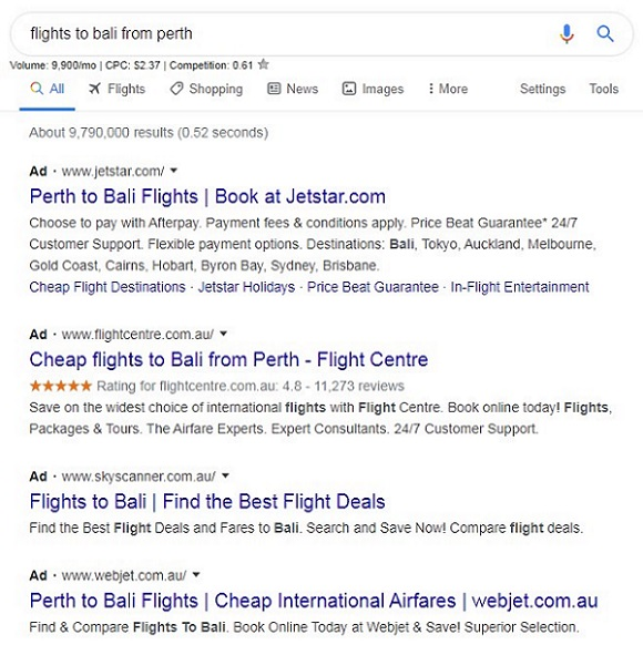 Google Ads Search Results Example
