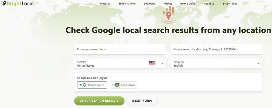 Bright Local Local Search Results Checker