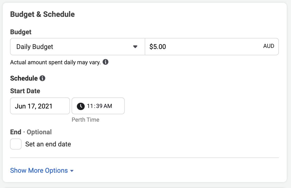 Facebook Budget & Schedule